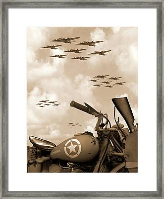 1942 Indian 841 - B-17 Flying Fortress' Framed Print by Mike McGlothlen