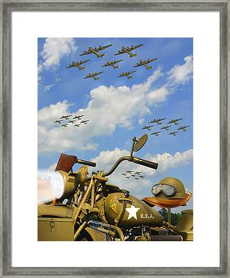 1943 Harley Wfc With B - 24 Liberators 2c Framed Print by Mike McGlothlen