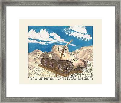 1943 Sherman M 4 Medium Taqnk Framed Print by Jack Pumphrey
