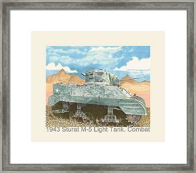 1943 Stuart M-5 Light Tank Combat Framed Print by Jack Pumphrey
