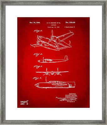 1944 Howard Hughes Airplane Patent Artwork 2 Red Framed Print by Nikki Marie Smith