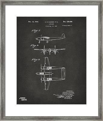 1944 Howard Hughes Airplane Patent Artwork 3 - Gray Framed Print by Nikki Marie Smith