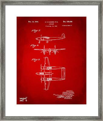 1944 Howard Hughes Airplane Patent Artwork 3 Red Framed Print by Nikki Marie Smith