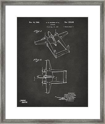 1944 Howard Hughes Airplane Patent Artwork - Gray Framed Print by Nikki Marie Smith