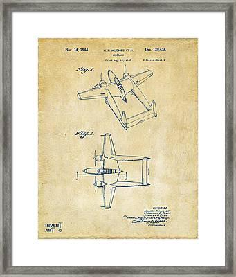 1944 Howard Hughes Airplane Patent Artwork Vintage Framed Print by Nikki Marie Smith