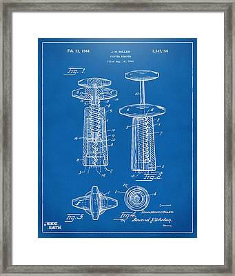 1944 Wine Corkscrew Patent Artwork - Blueprint Framed Print by Nikki Marie Smith