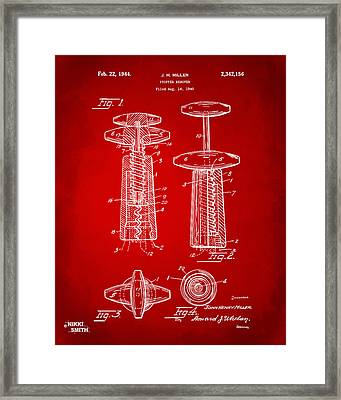 1944 Wine Corkscrew Patent Artwork - Red Framed Print by Nikki Marie Smith