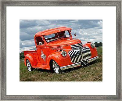 1945 Chevy In Orange Framed Print by Gill Billington