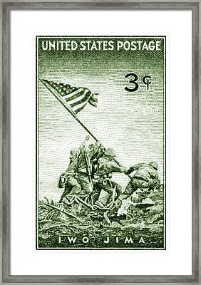 1945 Marines On Iwo Jima Stamp Framed Print by Historic Image