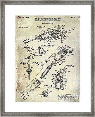 1940 Illuminated Bait Patent Drawing Framed Print by Jon Neidert