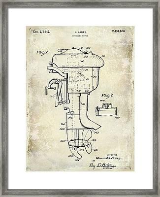 1947 Outboard Motor Patent Drawing Framed Print by Jon Neidert