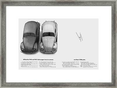1948 And 1965 Volkwagen Beetle  Framed Print by Digital Repro Depot