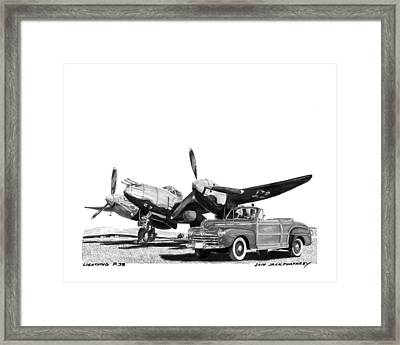 World War I I P 38 And 1948 Ford Sportsman Convert Framed Print by Jack Pumphrey