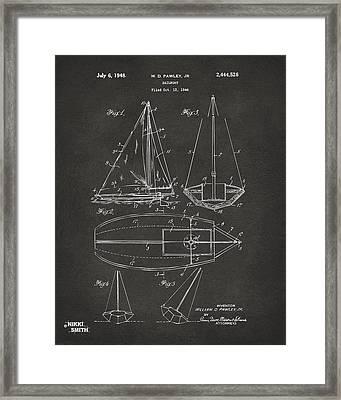 1948 Sailboat Patent Artwork - Gray Framed Print by Nikki Marie Smith