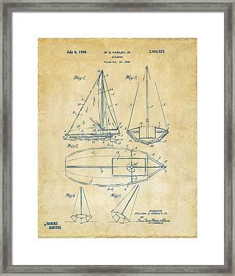 1948 Sailboat Patent Artwork - Vintage Framed Print by Nikki Marie Smith