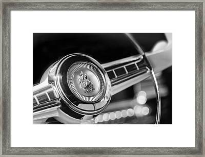 1949 Plymouth P-18 Special Deluxe Convertible Steering Wheel Emblem Framed Print by Jill Reger