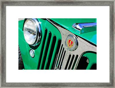 1949 Willys Jeep Station Wagon Grille Emblem Framed Print by Jill Reger