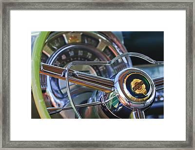 1950 Chrysler New Yorker Coupe Steering Wheel Emblem Framed Print by Jill Reger
