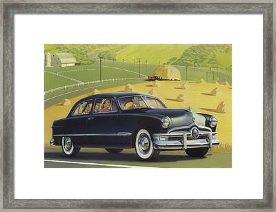 1950 Custom Ford Rustic Rural Country Farm Scene Americana Antique Car Watercolor Painting Framed Print by Walt Curlee