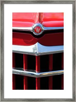 1950 Willys Overland Jeepster Hood Emblem Framed Print by Jill Reger