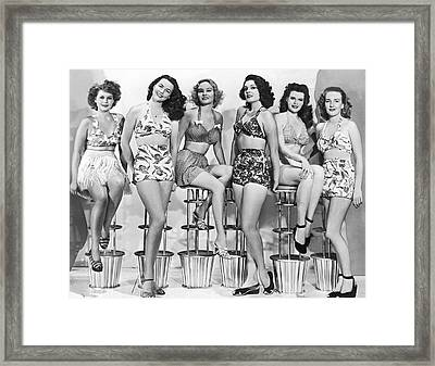 1950s Bathing Suits Framed Print by Underwood Archives