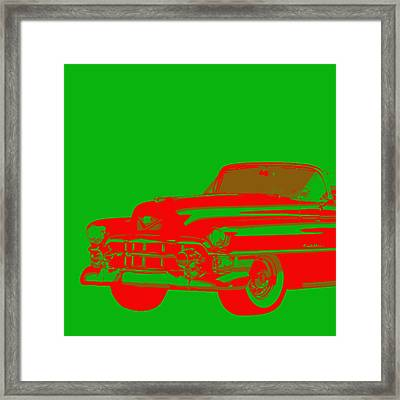 1950s Cadillac Red On Green Abstract Framed Print by Karl Jones