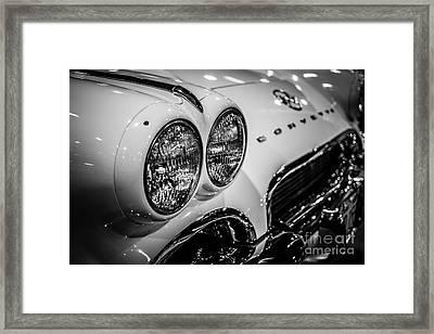 1950's Chevrolet Corvette C1 In Black And White Framed Print by Paul Velgos
