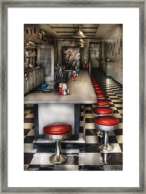 1950's - The Ice Cream Parlor  Framed Print by Mike Savad