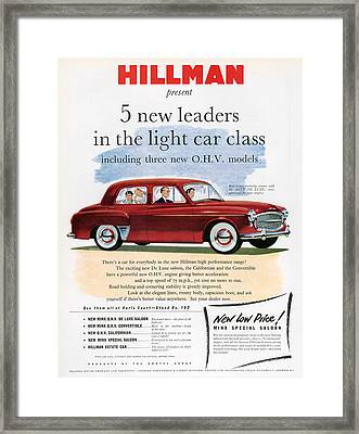 1950s Uk Hillman Magazine Advert Framed Print by The Advertising Archives