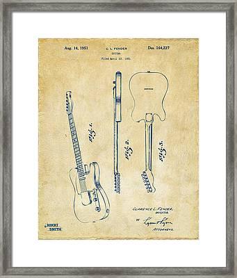 1951 Fender Electric Guitar Patent Artwork - Vintage Framed Print by Nikki Marie Smith