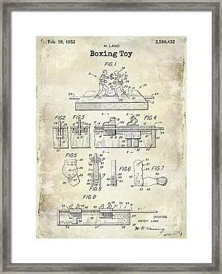 1952 Boxing Toy Patent Drawing Framed Print by Jon Neidert