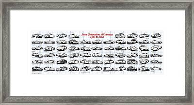 1953-2014-corvettes Framed Print by K Scott Teeters