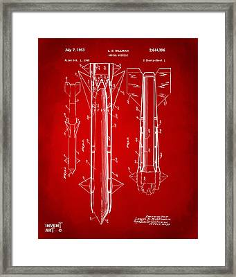 1953 Aerial Missile Patent Red Framed Print by Nikki Marie Smith