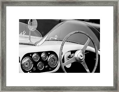 1953 Ferrari 340 Mm Lemans Spyder Steering Wheel Emblem Framed Print by Jill Reger