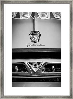 1953 Ford F-100 Fordomatic Pickup Truck Grille Emblems -0108bw Framed Print by Jill Reger