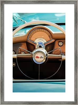 1954 Chevrolet Corvette Convertible  Steering Wheel Framed Print by Jill Reger