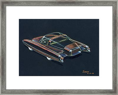 1954  Ford Cougar Experimental Car Concept Design Concept Sketch Framed Print by John Samsen