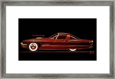 1954 Ford Cougar  Experimental  Car Concept Styling Design Concept Sketch Framed Print by John Samsen