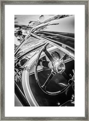 1954 Jaguar Xk120 Roadster Steering Wheel -0500bw Framed Print by Jill Reger