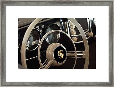 1954 Porsche 356 Bent-window Coupe Steering Wheel Emblem Framed Print by Jill Reger