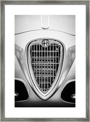 1955 Alfa Romeo 1900 Css Ghia Aigle Cabriolet Grille Emblem -0564bw Framed Print by Jill Reger