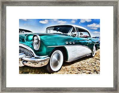 1955 Buick Framed Print by Ron Roberts