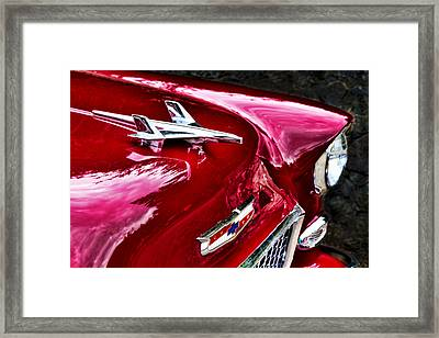 1955 Chevy Bel Air Hood Ornament Framed Print by Peggy Collins