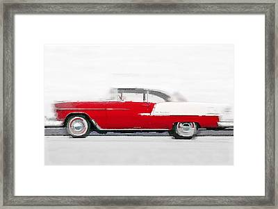 1955 Chevy Bel Air Watercolor Framed Print by Naxart Studio