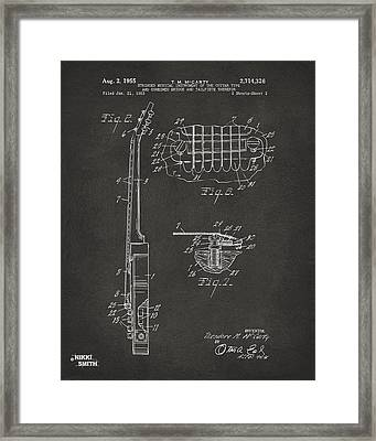 1955 Mccarty Gibson Les Paul Guitar Patent Artwork 2 - Gray Framed Print by Nikki Marie Smith
