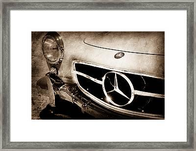 1955 Mercedes-benz 300sl Gullwing Grille Emblem Framed Print by Jill Reger