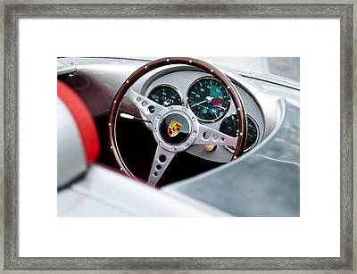 1955 Porsche Spyder Replica Steering Wheel Emblem Framed Print by Jill Reger