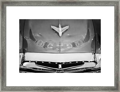 1955 Studebaker Champion Conestoga Custom Wagon Hood Ornament - Grille Emblem -0325bw Framed Print by Jill Reger