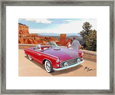 1955 Thunderbird At  Bryce Canyon  Classic Ford Art Sketch Rendering Art Sketch Rendering            Framed Print by John Samsen
