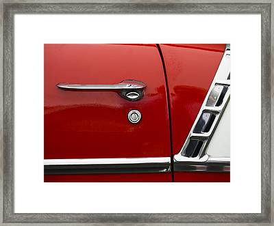 1956 Chevy Door Detail Framed Print by Carol Leigh
